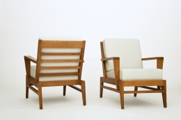 René Gabriel's pair of armchairs, back and front diagonal views