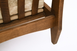 Unattributed pair of armchairs, detailed of back leg