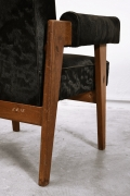 """Le Corbusier, Pierre Jeanneret & Jeet Lal Malhotra's """"Advocate and Press"""" pair of armchairs, detailed view of back"""