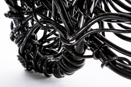 Forrest Myers' Wingback chair, detailed view of aluminum wire