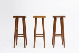 """Pierre Chapo's set of three """"S01C"""" stools, full view of 3 stools from eye-level"""