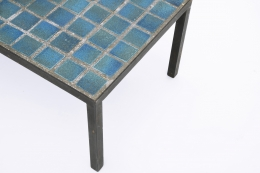 French 1960's blue ceramic coffee table close up view of tiles and metal frame
