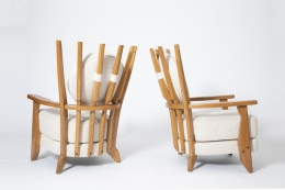 """Guillerme et Chambron's Pair of """" Tapissier"""" armchairs, diagonal and back view and side views"""