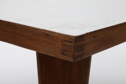 Pierre Jeanneret's square table detailed view of corner