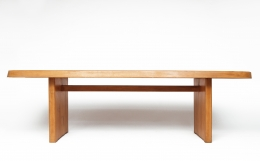 """Pierre Chapo's """"T20A"""" dining table straight eye-level view"""