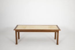 Jacques Adnet's coffee table, full straight view from above
