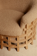 Studio Giancarlo Valle's cage armchair, detailed view of upholstery and wooden cage base