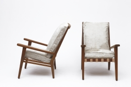 Jacques Adnet's armchair side and front view