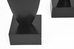 "François Stahly's ""Les Palmes"" sculptures, detailed view of base showing signature"