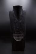 """François Morellet's """"Trame Disques quadrillés argentés"""" necklace, front straight view"""