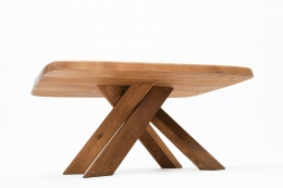 """Pierre Chapo's """"T35C"""" dining table diagonal view from under"""