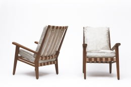 Jacques Adnet's armchair back and front view
