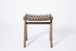 Pierre Jeanneret's pair of stools, full straight view of single stool