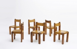 """Pierre Chapo set of six """"S11B"""" chairs view of all chairs"""