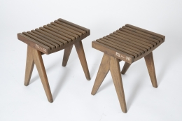 Pierre Jeanneret's pair of stools, full diagonal views of both stools from above