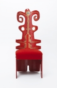 """Terence Main's """"Red Twiddler"""" chair, full front view"""