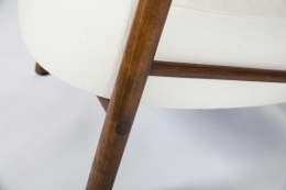 Attributed to Charlotte Perriand, pair of armchairs, detailed view of legs in single chair