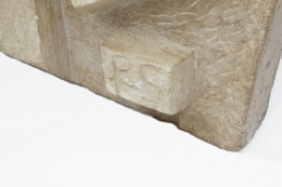 """Pierre Székely's """"Le Chasseur"""" limestone relief, detailed view of signature on bottom corner"""