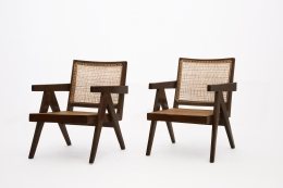 Pierre Jeanneret's pair of easy armchairs diagonal view