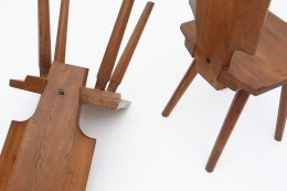 """Pierre Chapo's Set of four """"S28"""" chairs detail view of legs and back of chairs"""