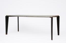 Jean Prouvé's aluminum dining table, full diagonal view