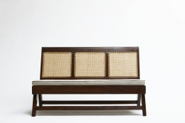 Pierre Jeannerets three-seat sofa straight front view with cushion