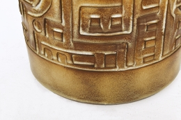 Marius Bessone's ceramic table lamp, detailed view of patterns on ceramic