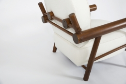Attributed to Charlotte Perriand, pair of armchairs, close up view of back on single chair