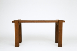 Unknown artist's table, straight front view from eye-level