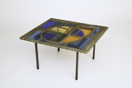 Jacques Avoinet's coffee table, diagonal view from above