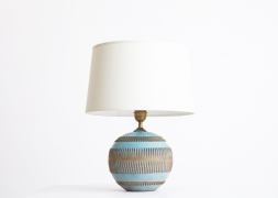 Jean Besnard's ceramic table lamp, front view from under