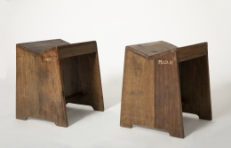 Pierre Jeanneret's stool, side views of 2 stools