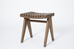 Pierre Jeanneret's pair of stools, full diagonal view of single stool