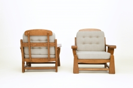 Maison Regain's pair of armchairs, back and front views