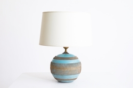 Jean Besnard's ceramic table lamp, front straight view