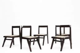 Pierre Jeanneret's set of 8 demountable chairs view of 5 chairs