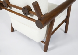 Attributed to Charlotte Perriand, pair of armchairs, detailed view of back structure on single chair