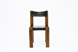 """Pierre Chapo's Set of eight """"S11E"""" chairs, single chair back view"""