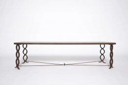 """Jean Royère's """"Ruban"""" coffee table, full straight view eye-level"""