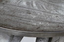 Modernist cement and iron desk, detailed view of top