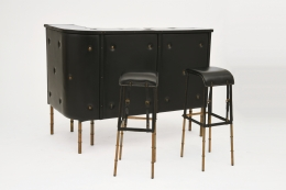 Jacques Adnet's bar with two stools