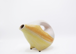Mado Jolain's ceramic pitcher, front diagonal view