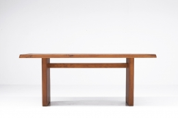 """Pierre Chapo """"T14C"""" dining table straight view without extensions"""