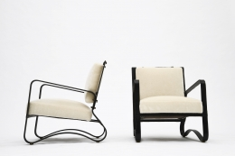 Jacques Adnet pair of armchairs side and front view