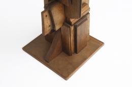 Ricardo Santamaria large wooden sculpture, detailed view of base