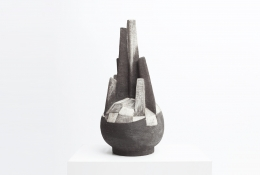 French 1960 ceramic sculpture diagonal view