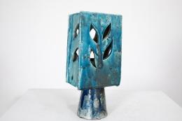 Vallauris' ceramic table lamp, front diagonal view