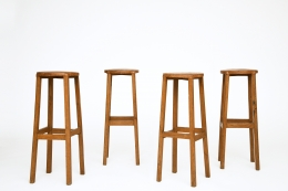 Unknown Artist's set of 4 stools, staggered view of all stools, some turned