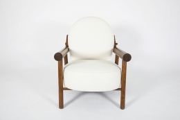 Attributed to Charlotte Perriand, pair of armchairs, single chair front view