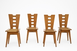 Henry Jacques Le Même's Set of 4 chairs, full straight view of all chairs from slightly above